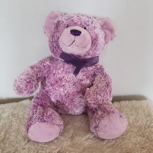 Build-a-bear // speckled purple with ribbon